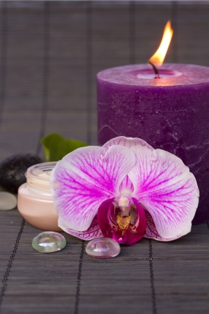 orchid spa - flower with candle and cream Stock Photo - 17105837