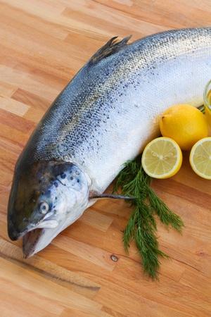salmo: Atlantic Salmon Salmo solar  fish on wooden table Stock Photo