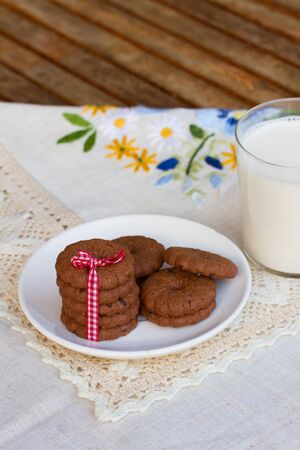 plate of chocolate cookies photo