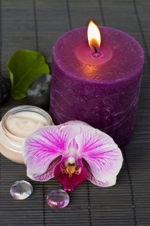 orchid spa with candle photo