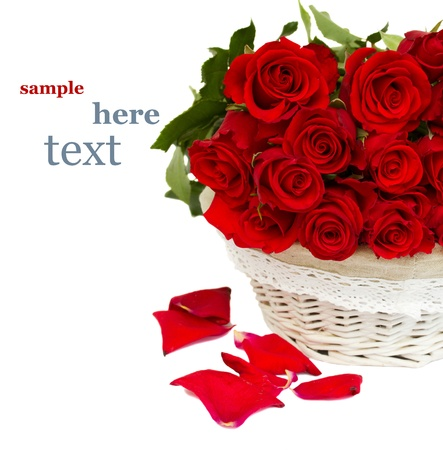 rose bouquet: pile of red roses in basket