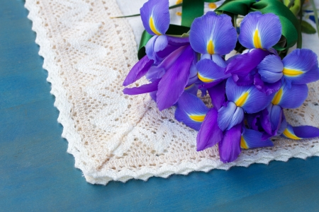 pile of iris flowers  photo
