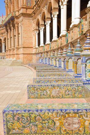 espana: benches of  Plaza de Espana, Sevilla, Spain
