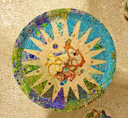 parc: mosaic on the ceiling of the Hypostyle Hall in Parc Guell in Barcelona