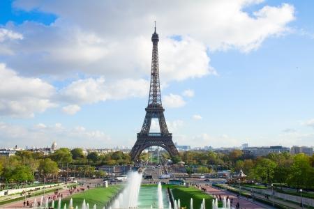 eiffel tour and fountains of Trocadero, Paris,  France photo