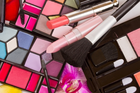 Decorative cosmetics  - eye shadows, lipsticks, mascara Stock Photo - 17952112