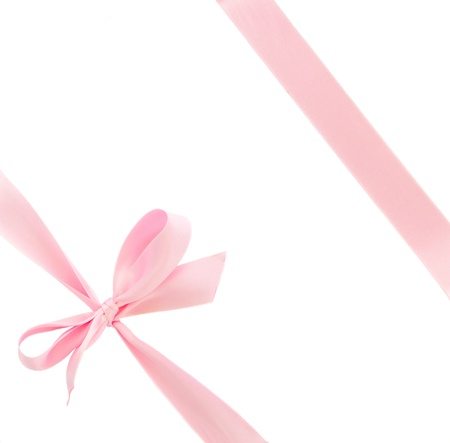 and pink ribbon: pink  silk bow isolated on white background Stock Photo