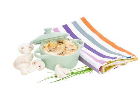 julienne: mushroom julienne vegetarian casserole isolated on white