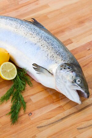 Atlantic Salmon Salmo solar  fish laying on wooden table Stock Photo - 18243934
