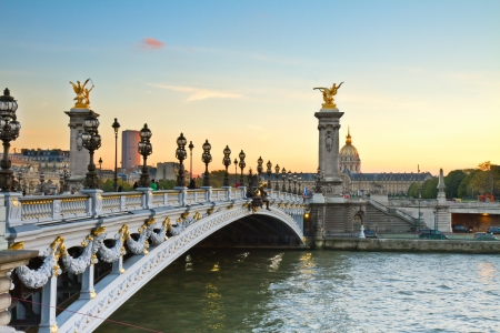 Alexandre III Bridge at sunset in  Paris, France Stock Photo