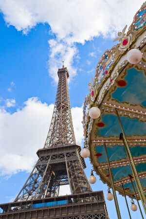 Vintage carousel at the Eiffel Tower, Paris, France Stock Photo - 18243948