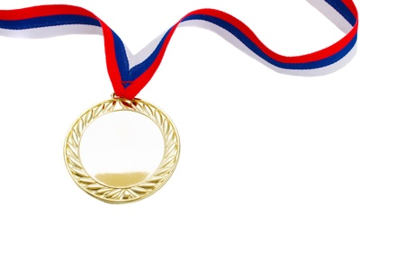 gold medal: one golde  medal close up  isolated on white background Stock Photo