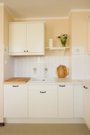 empty  modern white kitchen in antique rustique style Stock Photo