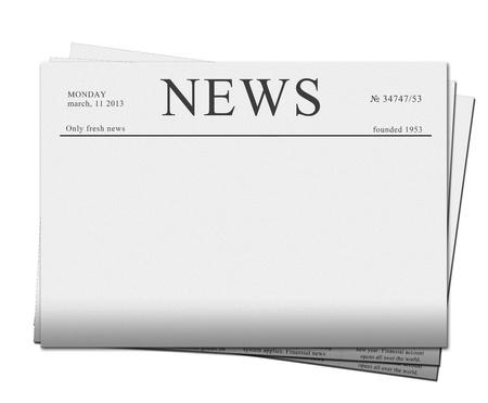 빈 신문의 더미 흰색 배경에 고립