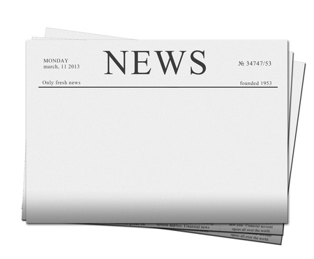 pile of blank newspapers isolated on white background