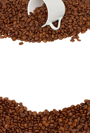 cup of coffee  and  raw beans borders isolated on white photo