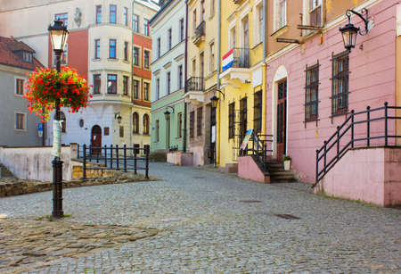 lublin: colorful old town small street, Lublin, Poland Stock Photo