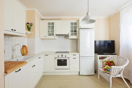 a kitchen: white modern kitchen room  in antique rustique style