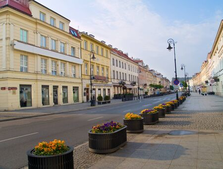 Main fashionable street (Novy Swiat), Warsaw, Poland photo