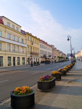 Main fashionable street  - Novy Swiat, Warsaw, Poland photo