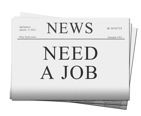 pile of newspapers: pile of neaad a job issues of newspapers isolated on white background