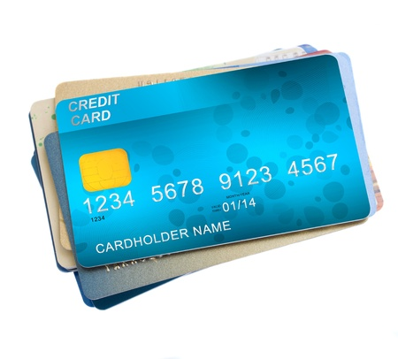 credit card payment: pile of credit cards isolated on white background