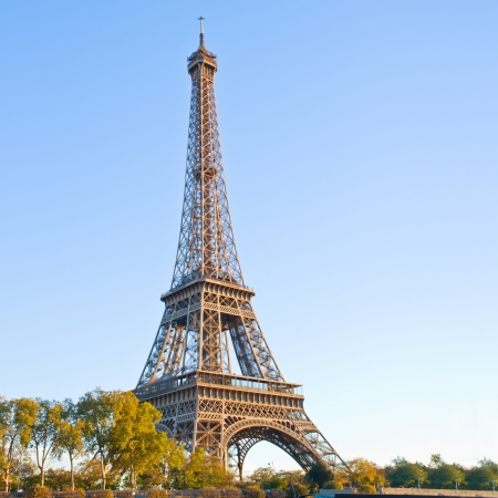 eiffel tour over spring trees, Paris,  France Stock Photo