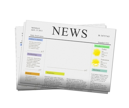 pack of newspapers with empty copy space isolated on white background photo
