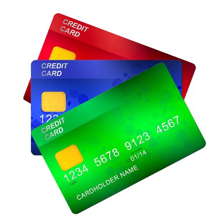three credit cards   isolated on white background photo