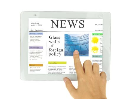 hand pointing on news on modern tablet PC isolated on white background with copy space photo