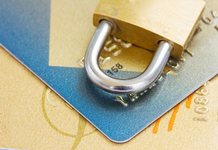 plastic cads with padlock , security concept Stock Photo - 18514612