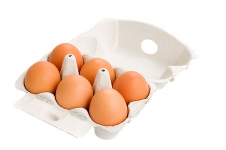 egg box: open box of raw eggs isolated on white background Stock Photo