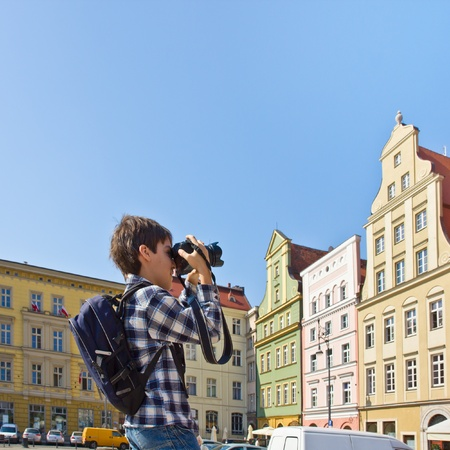 teenager tourist  in Wroclaw, Poland photo
