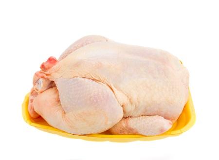 carne de pollo: Crudo gallina fresco aislado en el fondo blanco