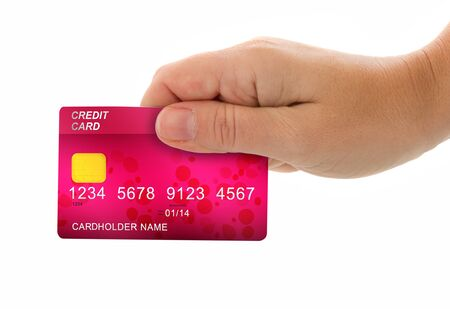 female hand holding credit card for payment isolated on white background photo