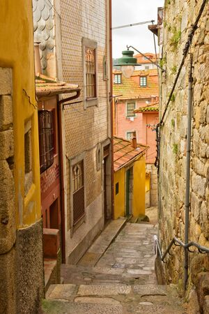 street with stairs in down town of Porto, Portugal photo