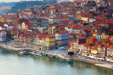 hill with old town of  Porto at sunset close up, Portugal photo