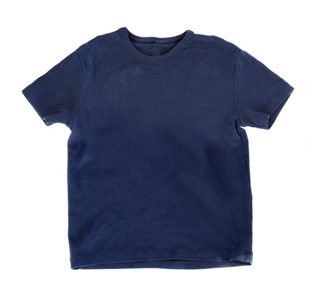 dark blue t-shirt isolated on white bakcgound Stock Photo - 19138936
