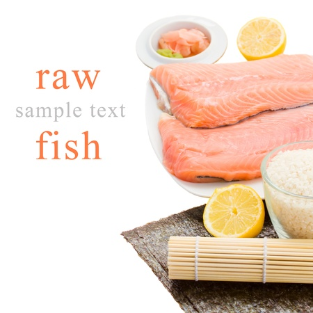 raw salmon Salmon filet for sushi  with lemons on plate Stock Photo - 19195355