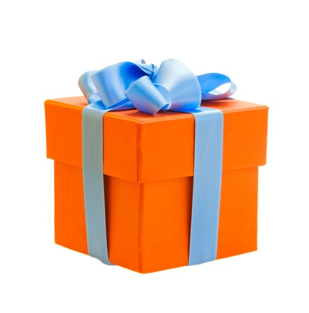 orange gift box with blue ribbon isolated om white background photo