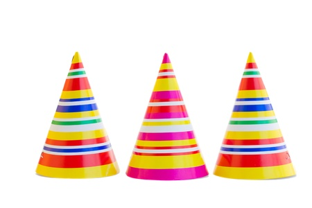 hat new year happy new year festive: three hats for birthday party isolated on white background