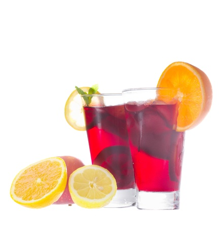 cold sangria in tall glasses isolated on white background photo
