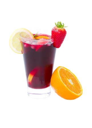 cold sangria in tall glass isolated on white background photo