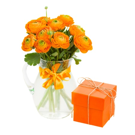 bouquet of orange  ranunculus and gift box isolated on white background Stock Photo - 19667864