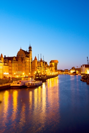 polska: evening lights of Motlawa quay, Gdansk, Poland Stock Photo