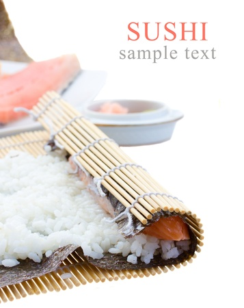 rice and raw salmon Salmon  for sushi rolls photo