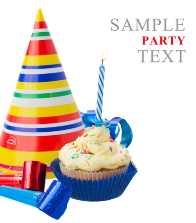birthday homemade cupcake with one burning  candle on white background photo