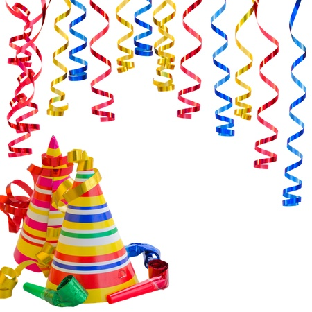 Hats and Serpentine for birthday party isolated on white background photo