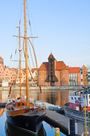 Harbour of Gdansk with Zuraw  oldest crane  ,   Poland photo