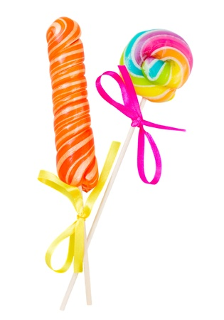 lolly pop: candy stick and spiral lolly pop isolated on white background